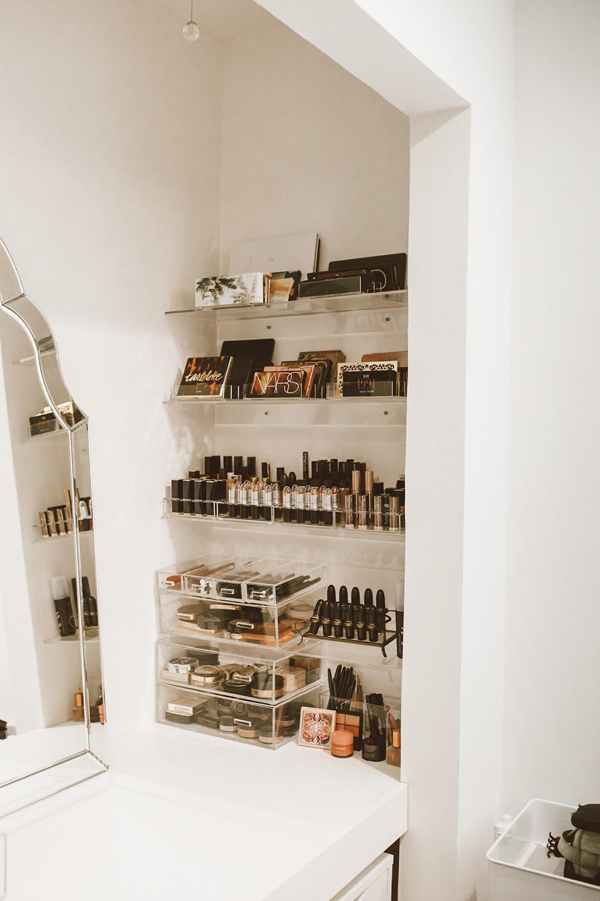 blogger So Sage vanity makeup display