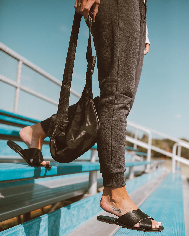 cute vegan black leather slides on blogger So Sage