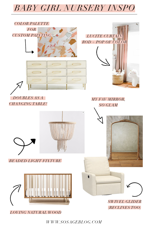 modern nursery design for baby girl inspiration board by So Sage