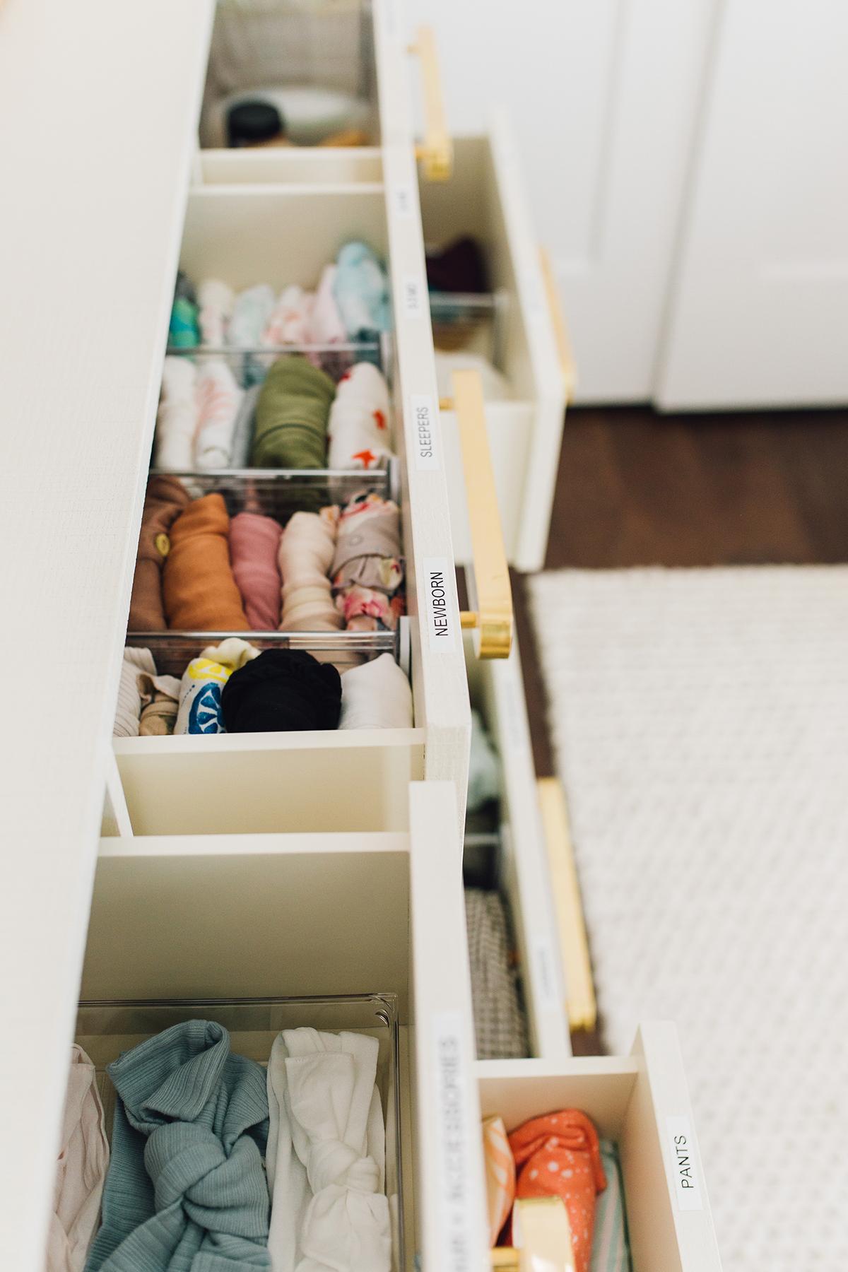 container store nursery drawer organization