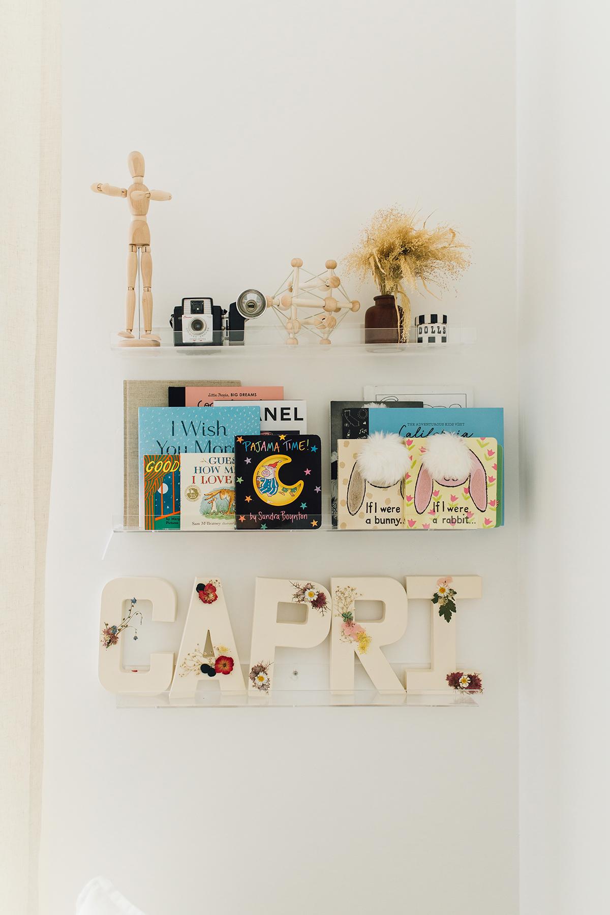 acrylic bookshelves for baby nursery