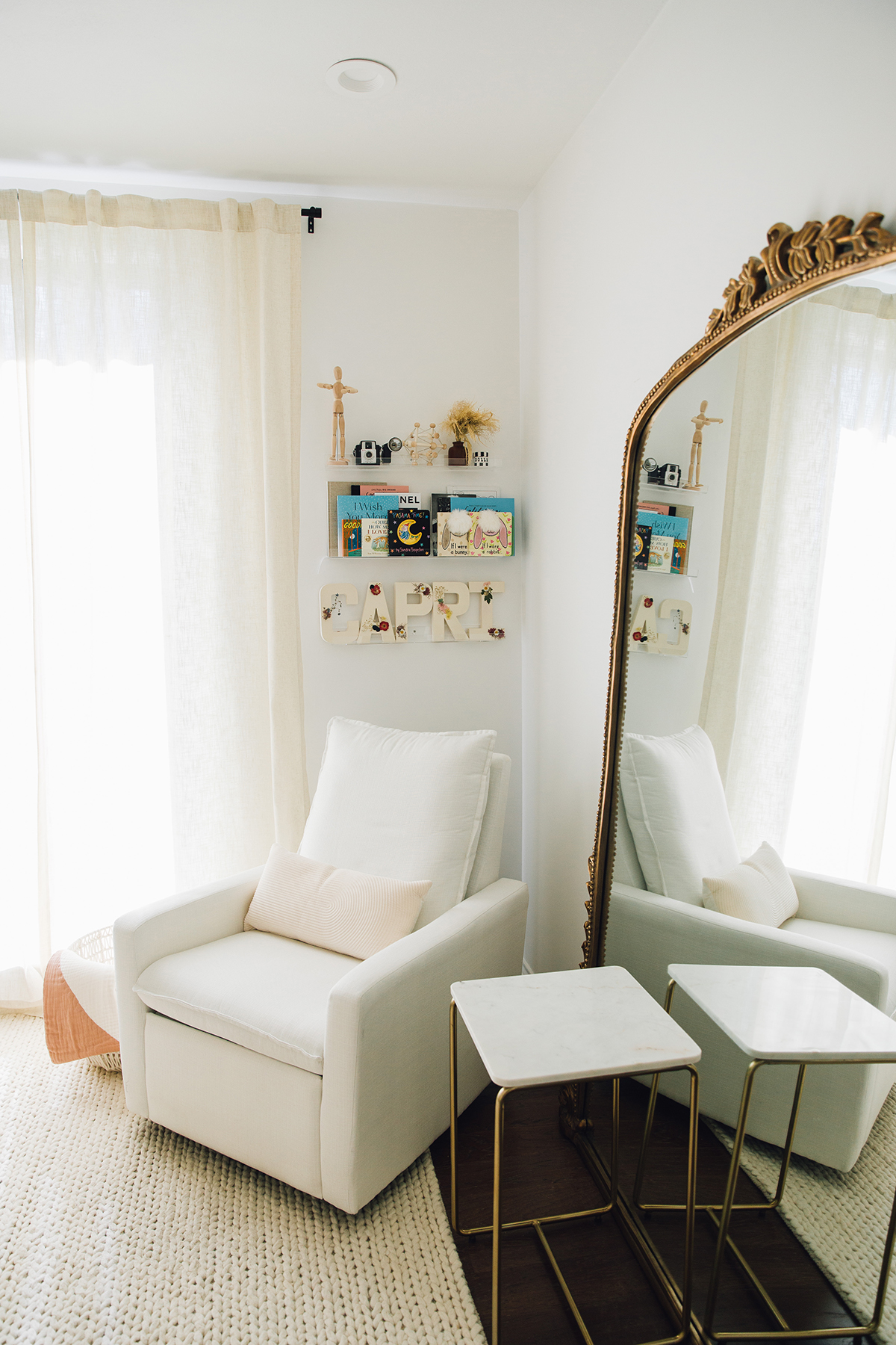 neutral colored baby girl nursery