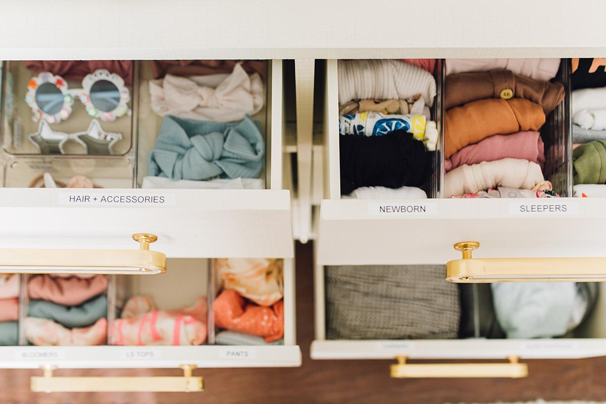 how to organize nursery baby drawers