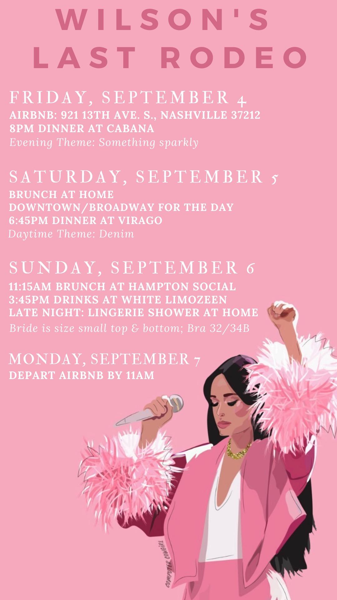 Nashville Bachelorette Itinerary Agenda